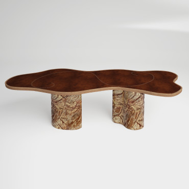 Bidasar Marble and Leather Table